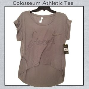 Athletic tee with high-low hem. Steeple gray